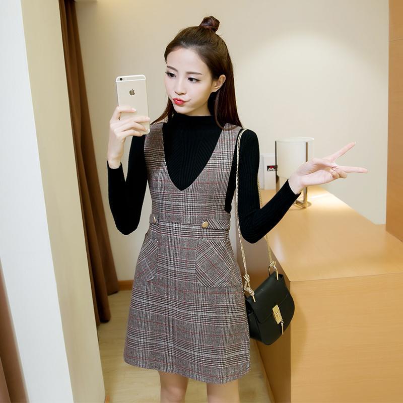 0011_46 미미샵 긴 스커트 모직 드레스 조끼 스커트 가을과 겨울 정장의 두 세트 2017 가을 여성의 한국어 버전
