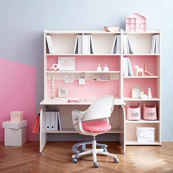 일룸 링키 컴팩트 책상세트 + 시디즈 링고의자, 아이보리+핑크:인조가죽핑크