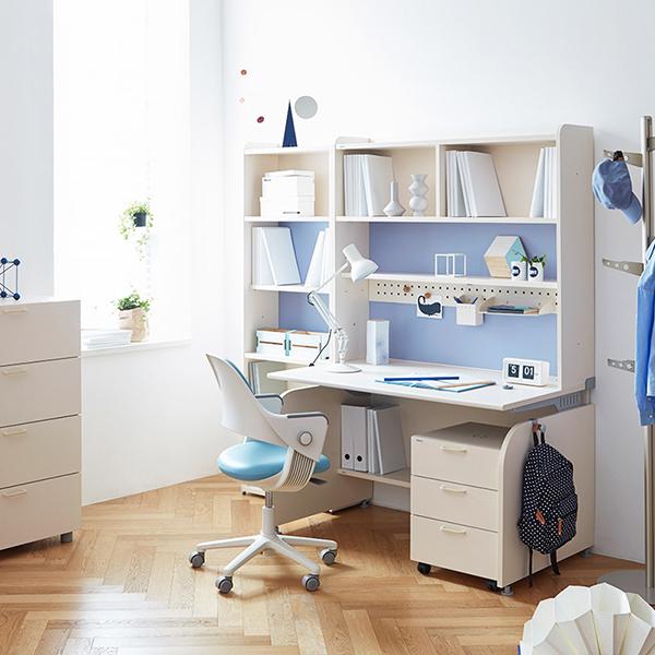 일룸 [SET] 링키 서랍형 책상세트 + 시디즈 링고의자, 아이보리+블루:인조가죽-블루