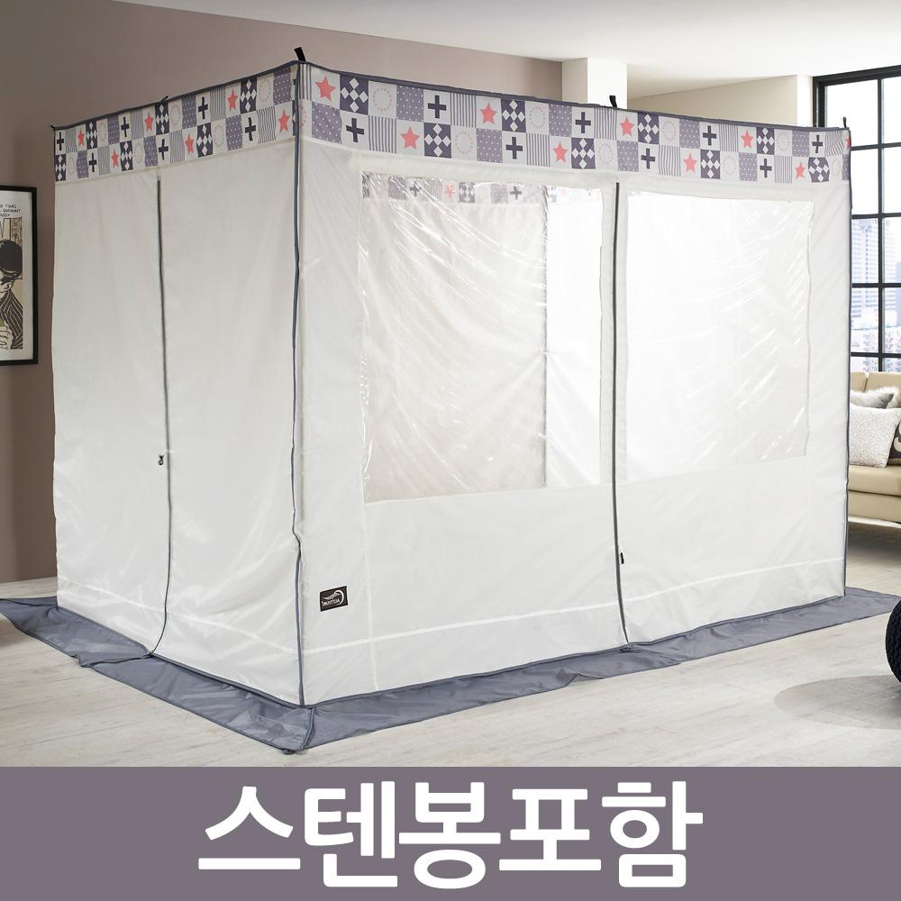 알뜨리 스텐다드 사각 난방 방한 보온 텐트(스텐봉포함) 난방텐트, 크림(하모니)