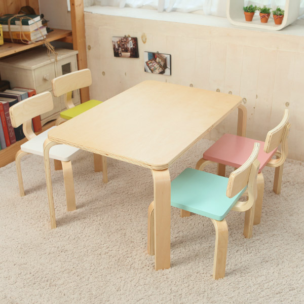 일루일루 프로스 어린이 책상세트 스퀘어형, 내추럴책상+핑크의자+민트의자