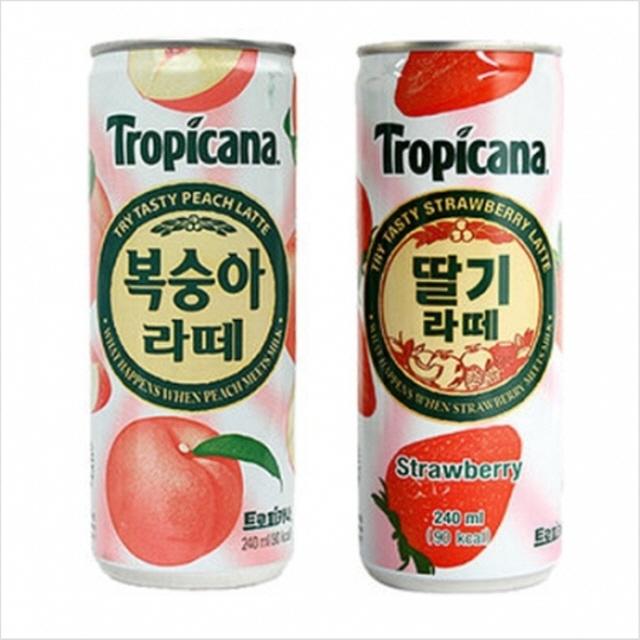240mlx30캔 캔음료 국산 과일음료 롯데칠성 트로피카나, 딸기라떼