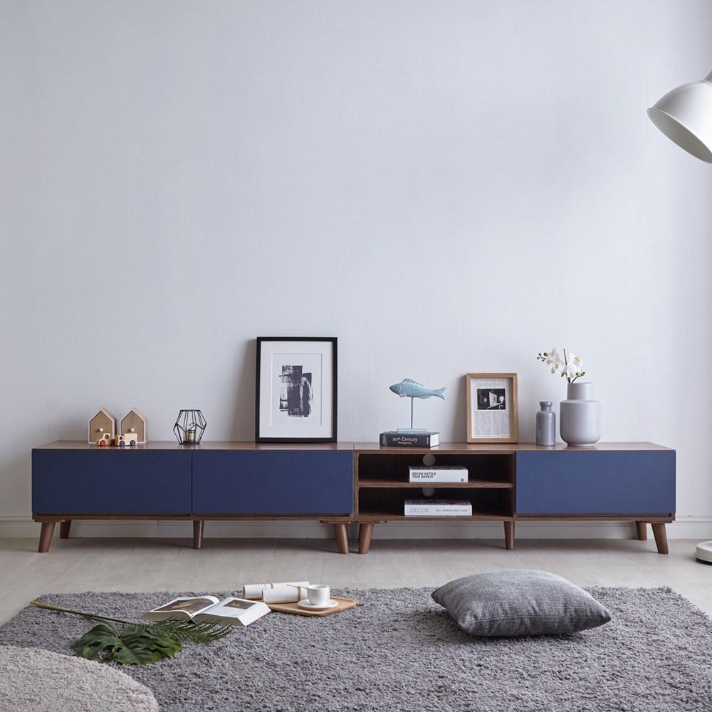 이지포유가구 바흐 선반형 거실장세트 2400 TV거실장, 월넛+블루