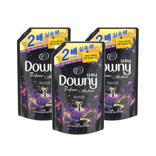 다우니 퍼퓸 컬렉션 고농축 섬유유연제 미스티크 리필, 3개, 1.6L