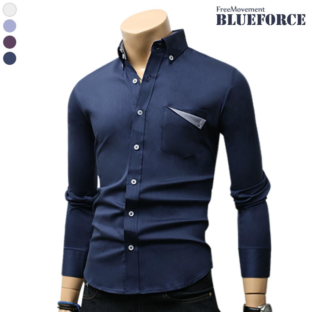 블루포스 남성용 숄튼 스판 남방 남자 긴팔남방 솔리드 무지 셔츠