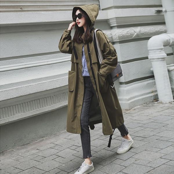 여성야상점퍼 후드 오버핏 사파리코트 가을롱자켓 간절기아우터