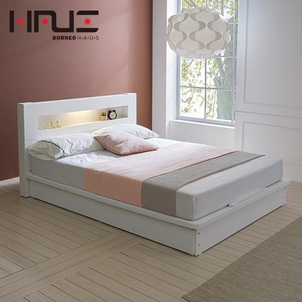 보루네오하우스 프라임 루시 LED 평상형 SS 침대프레임 DM6017, 화이트