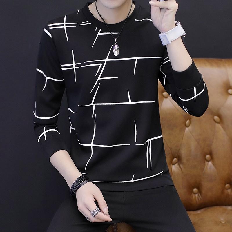 ZoneSHOP 남성 긴팔 티 셔츠 라운드 패션 루즈핏 남자 의류X1