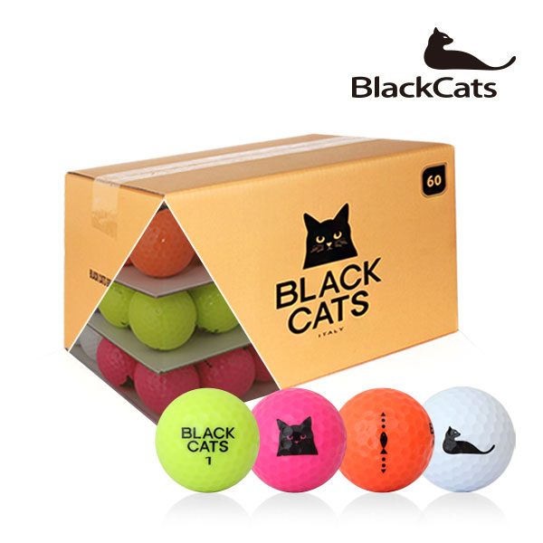 블랙캣츠 컬러혼합 60알 패키지 골프공 2피스