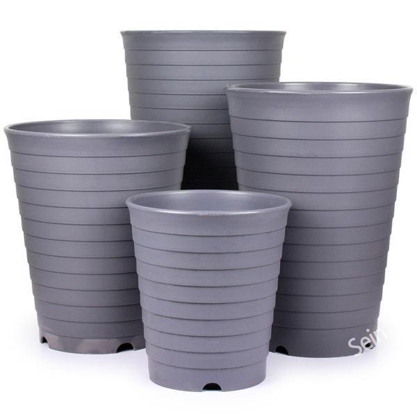 컬러 대형화분 펄레드 / 플라스틱화분 인테리어화분 다육이화분 대형화분 큰화분 원예용품, 04_한성_라운드화분(그레이)-300