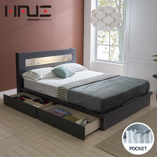 보루네오하우스 프라임 루시 LED 서랍평상형 독립스프링 Q 침대 DM6031, 그레이