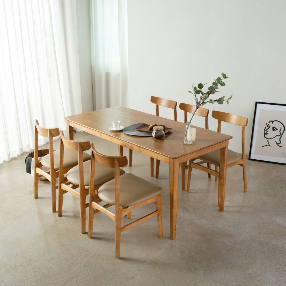 라미에스 디첸 고무나무 원목 6인식탁세트 06 디첸6인식탁1의자6