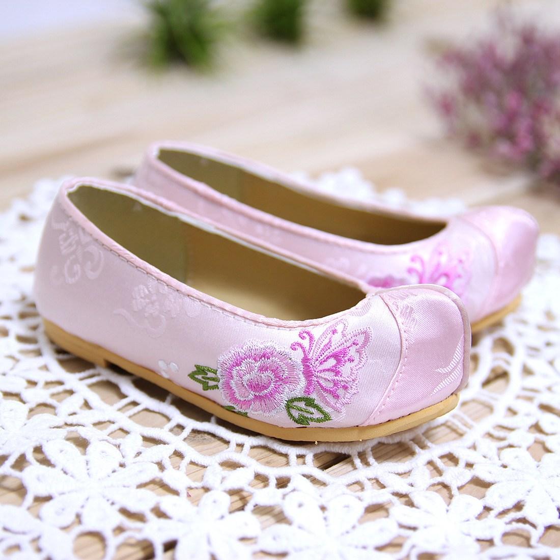 여아 분홍꽃자수 꽃신 여아한복 남아한복 한복신발