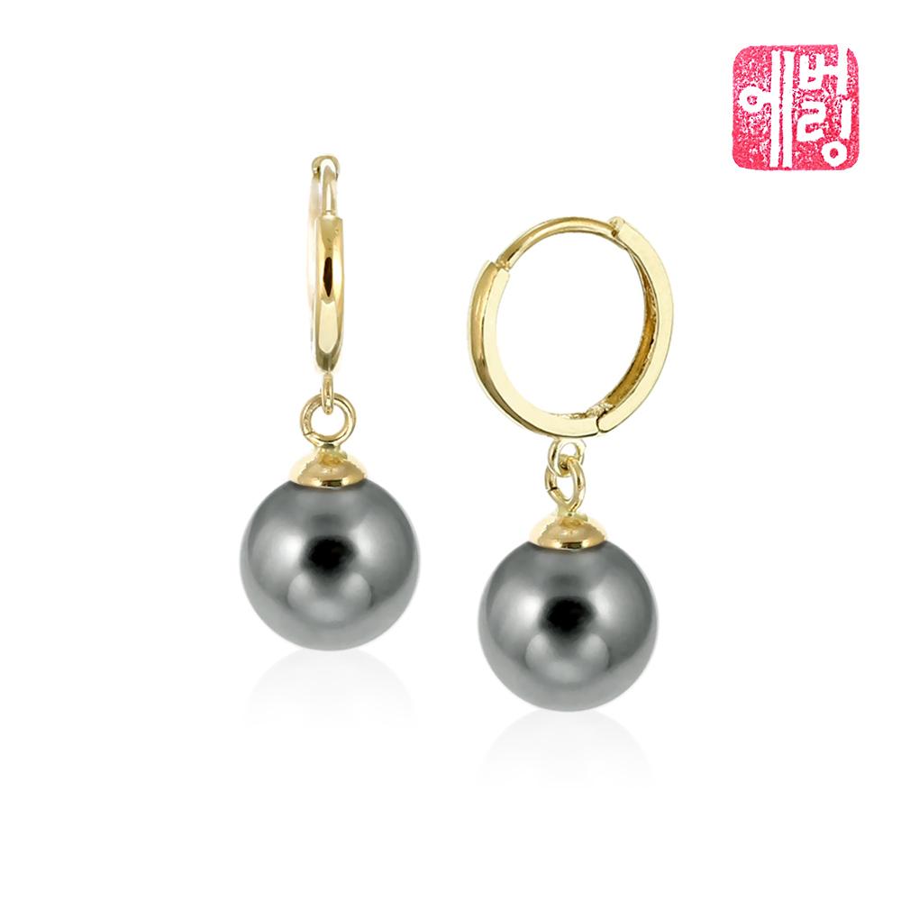 18K 그레이스펄 8mm 흑진주 원터치 귀걸이_EPEE8101