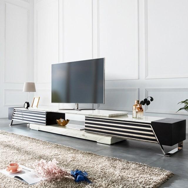 천연 대리석 스텔라 거실장 확장형 티비다이 TV다이, 단품