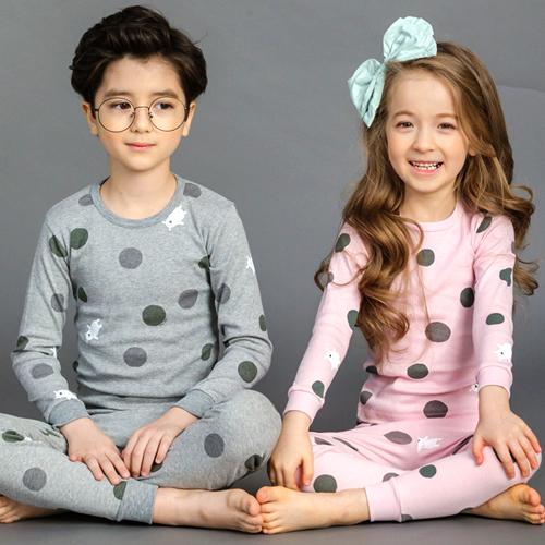캐릭모아키즈 30수 땡땡이곰 유아 아동 내복