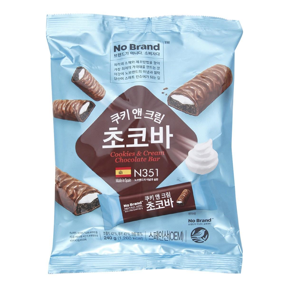 노브랜드 [노브랜드]쿠키앤크림초콜릿바240gx2, 단일상품