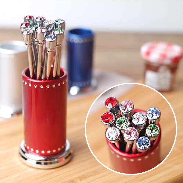 마이샵 큐빅 티포크세트10P 티포크통 포함, 티스푼통 색상-핑크