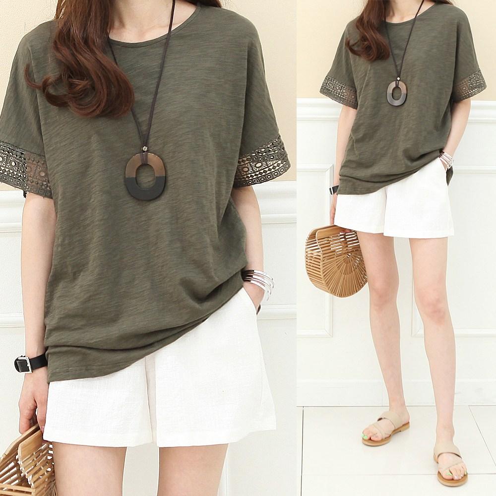 하늘바라기 여성용 프라테 소매 펀칭 레이스 반팔 티셔츠