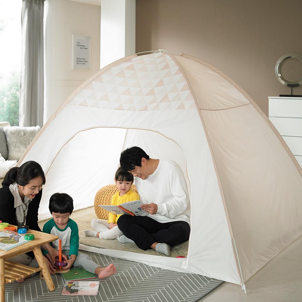 알뜨리 트리플 원터치 방한 보온 실내 침대 텐트 난방텐트, 베이지