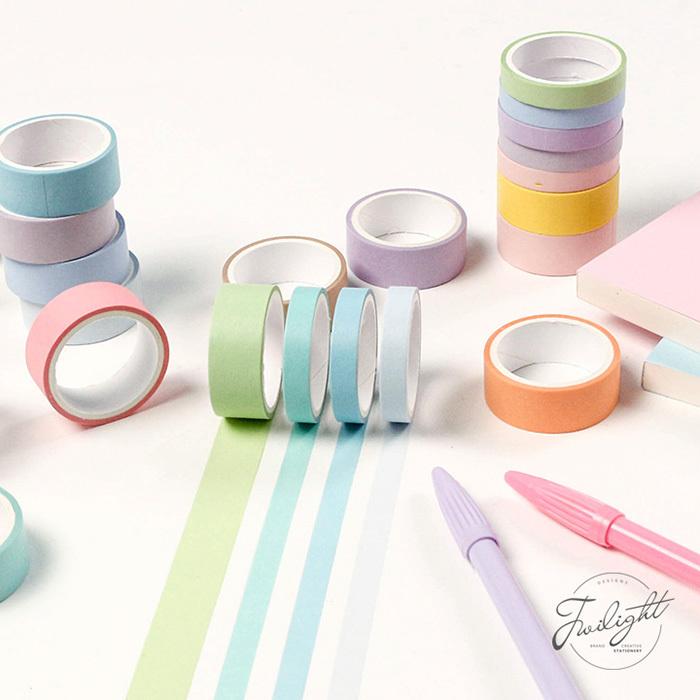 12색 파스텔 마스킹 테이프 세트 - 얇은 마테팩, 단일상품