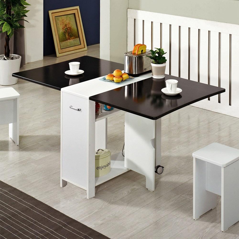 스킬디자인 식탁 멤브레인 접이식테이블+의자2개 일반식탁/의자세트, 블랙펄