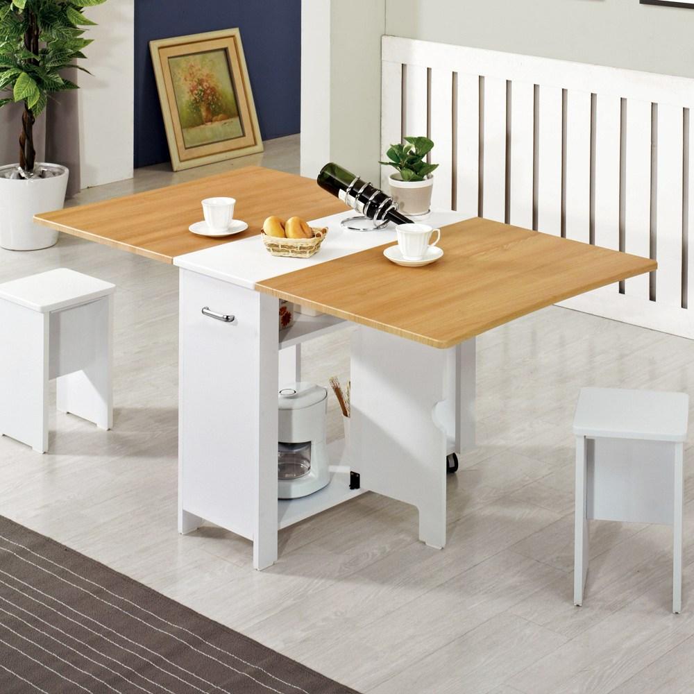 스킬디자인 멤브레인 헤드폴딩 접이식테이블+의자2개 접이식식탁, 메이플+스툴의자2개포함