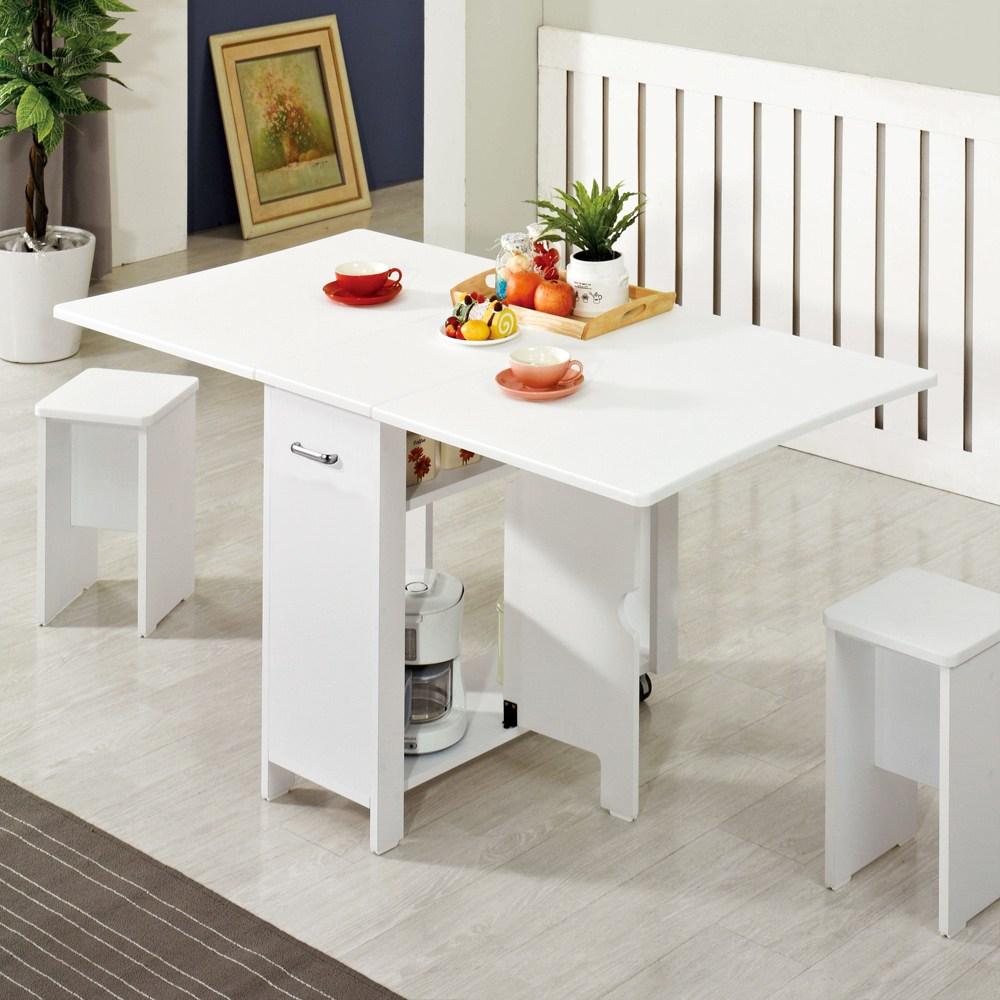 스킬디자인 멤브레인 헤드폴딩 접이식테이블+의자2개 접이식식탁, 화이트+스툴의자2개포함