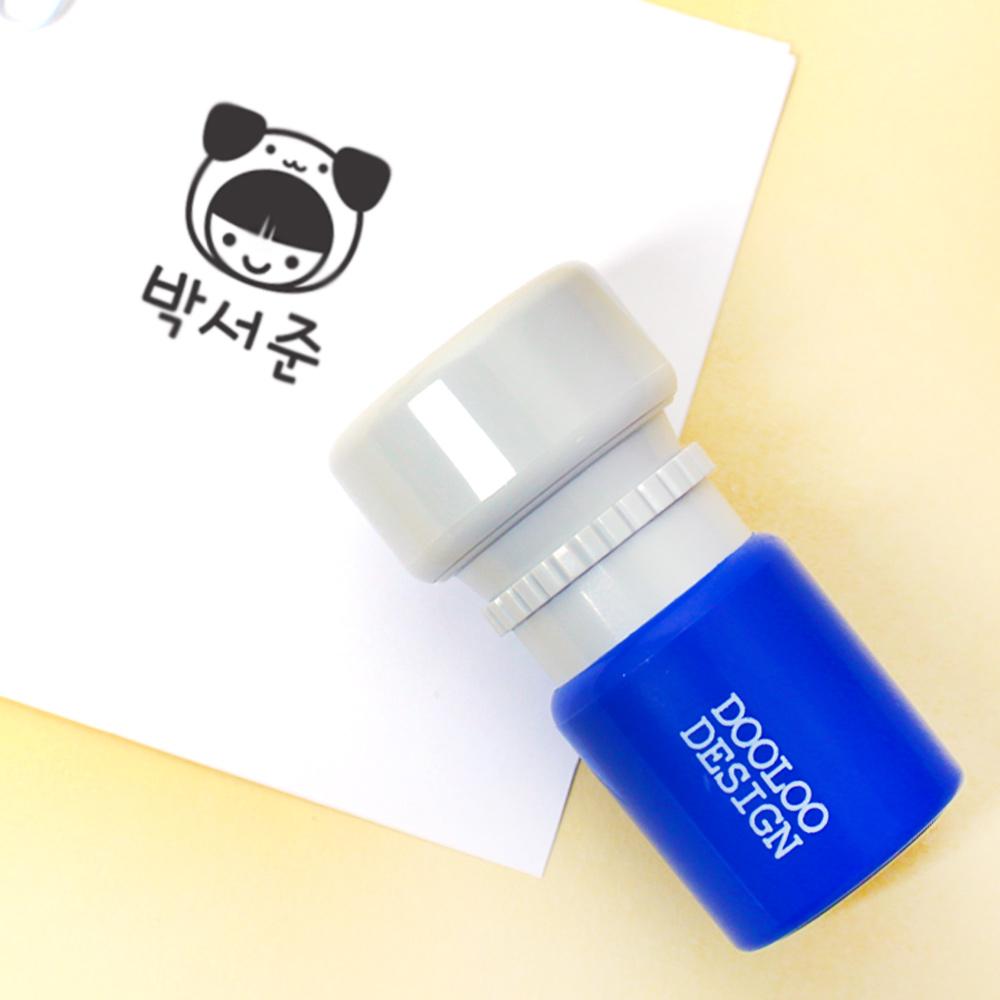 두루디자인 베이직 원형 스탬프, 블루(new), 잉크 검정