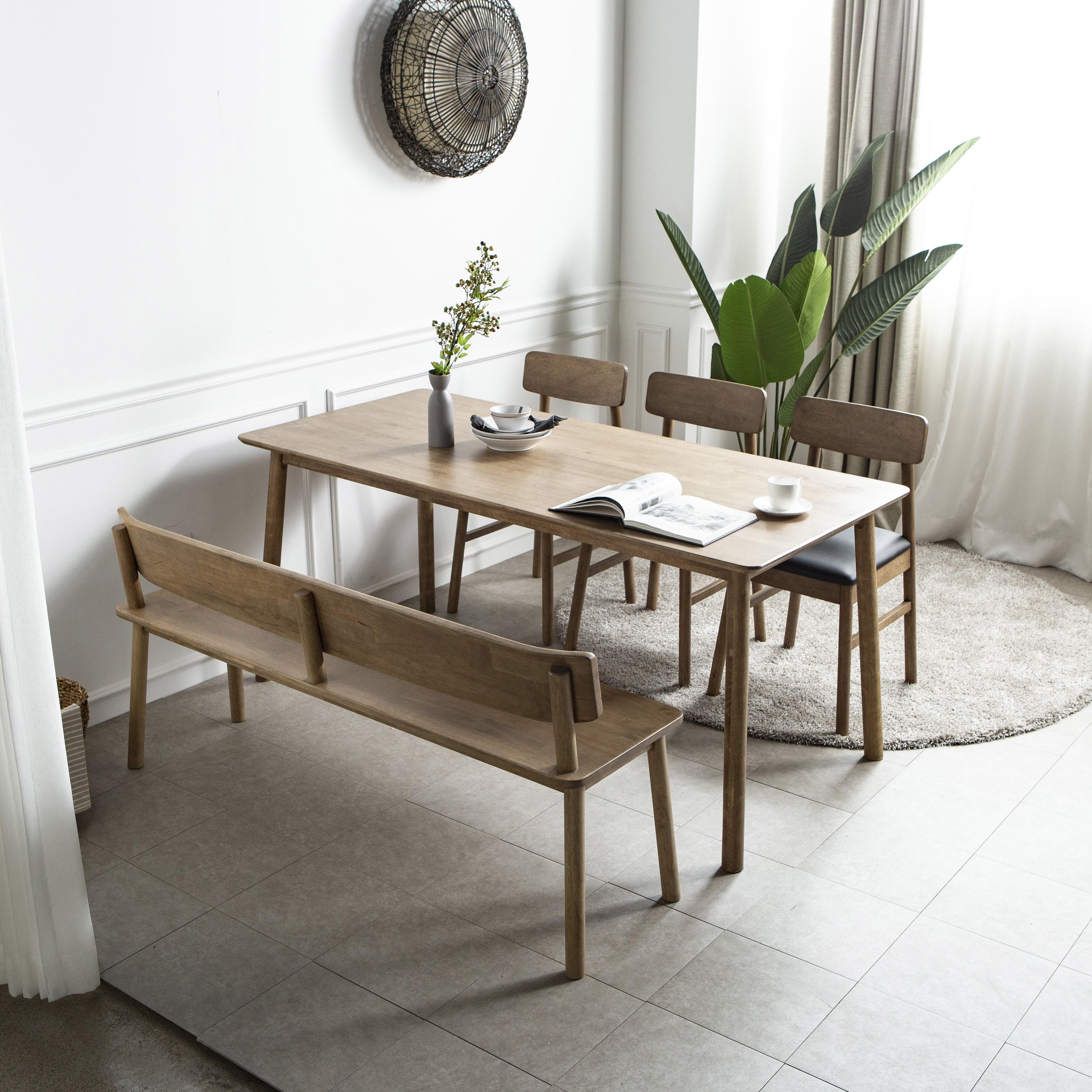 라미에스 라미에르 6인용 원목 식탁 세트, 라미에르6인식탁1+벤치1+의자3