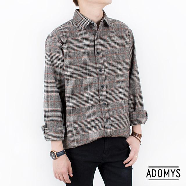 아도미스 남자 겨울 셔츠 글렌 체크 루즈핏 울셔츠