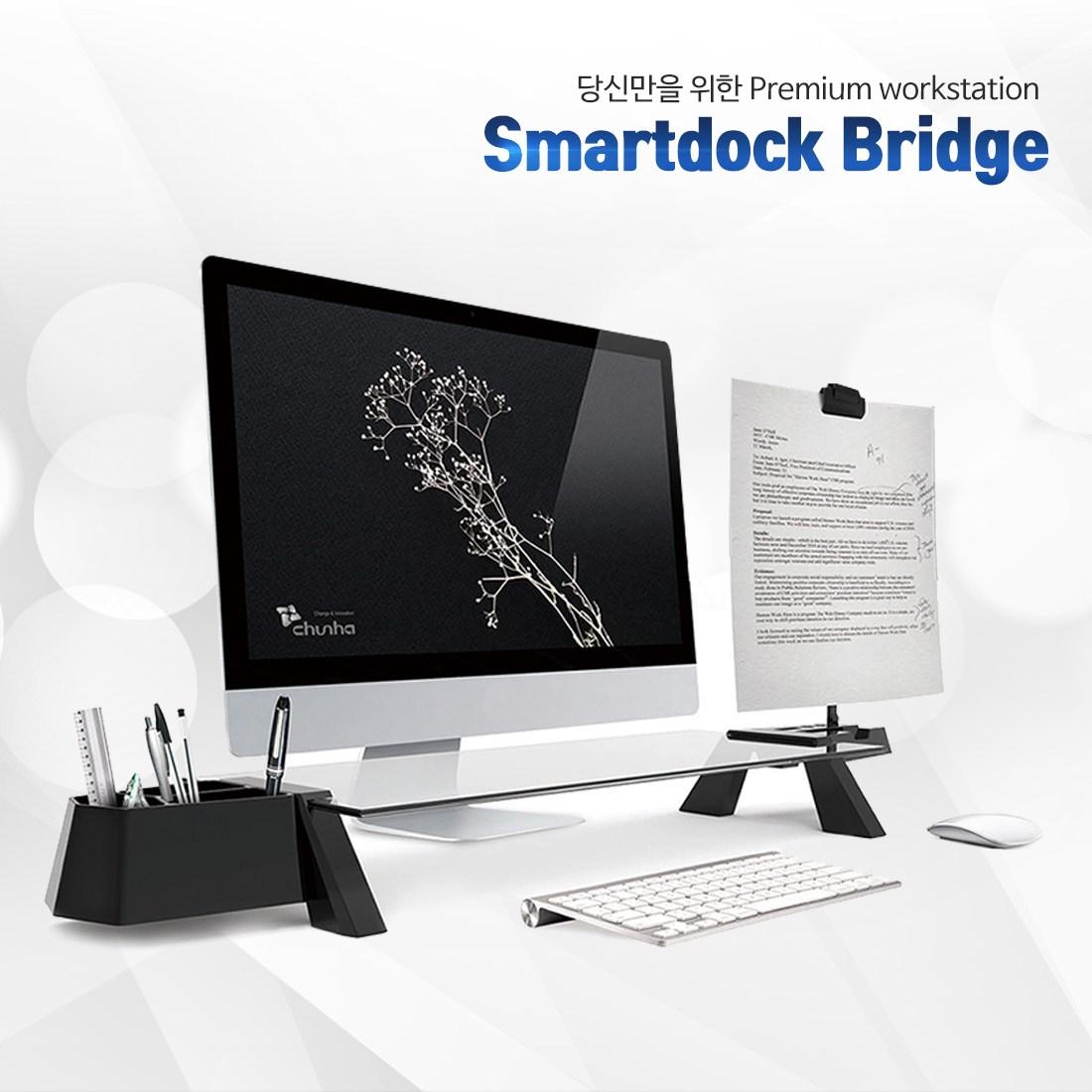 스마트독브릿지 모니터받침대, USB형 블랙바디/블랙유리
