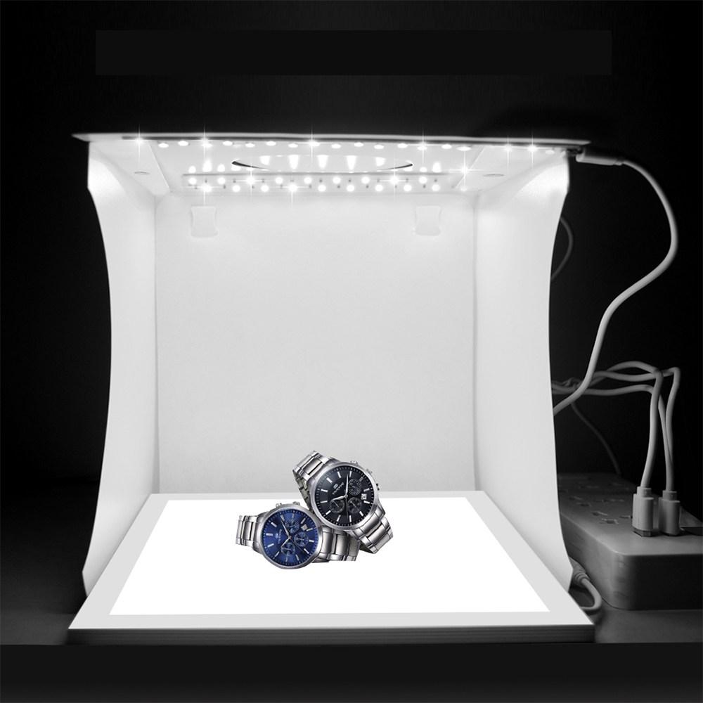 미니스튜디오 포토박스 LED, 1개, 4. LED 2줄+그림자방지패널