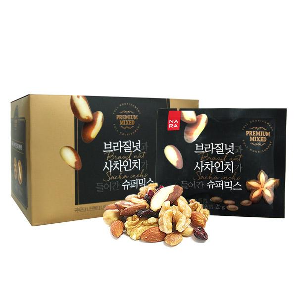 [넛츠앤베리스] 브라질넛과 사차인치가 들어간 슈퍼믹스 300g(20gx15개입), 1박스