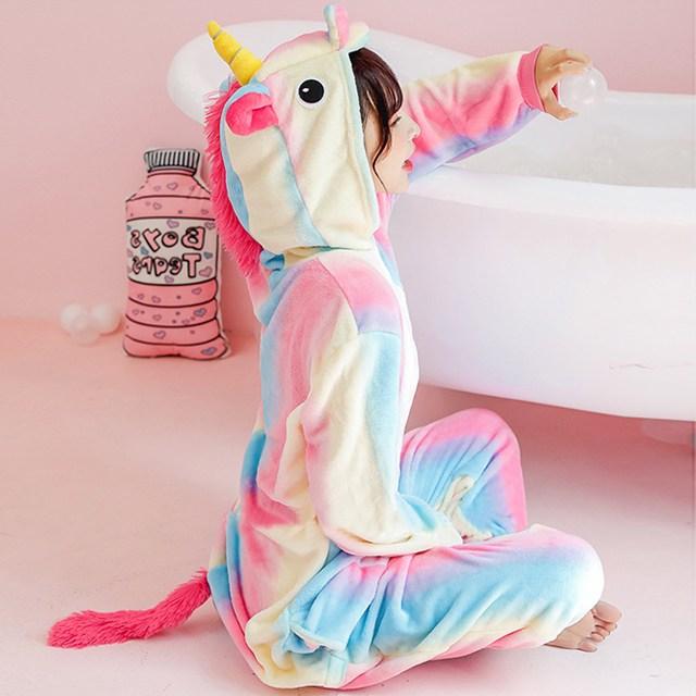 말랑마쥬 레인보우 유니콘 극세사 동물 수면잠옷 반티