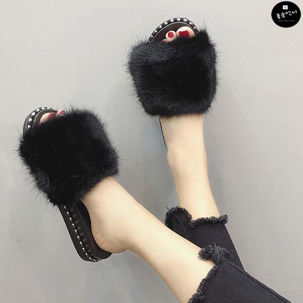 용순언니 피너스 여성용 털 슬리퍼 신발
