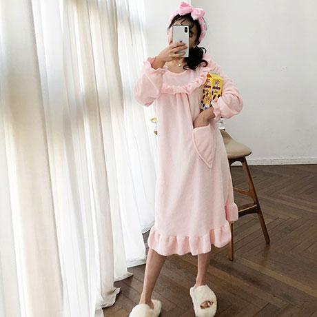 문릿 핑크하트 여성 수면잠옷 원피스