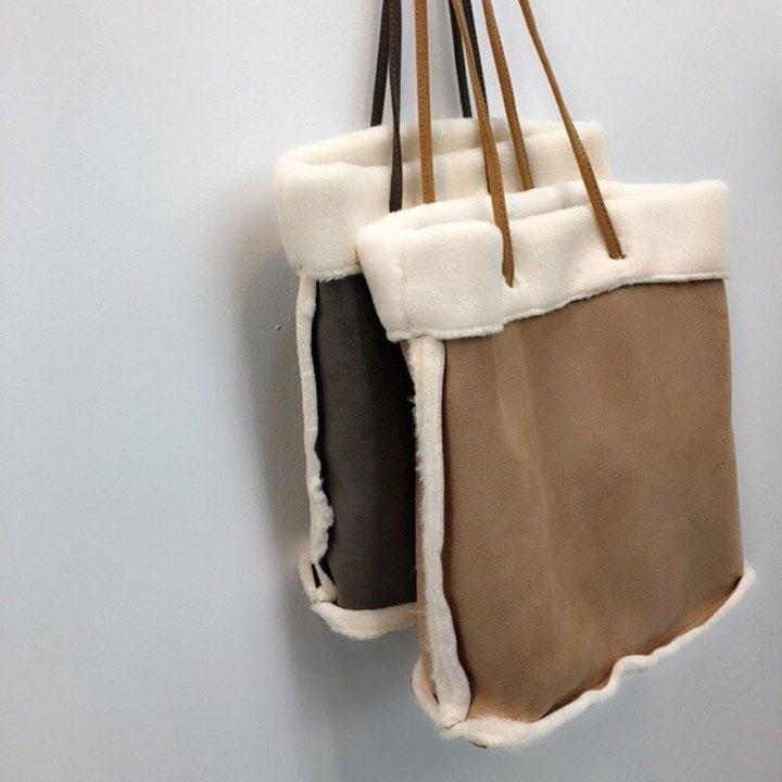 엘루아 스웨이드 무스탕 에코백 숄더백 겨울가방