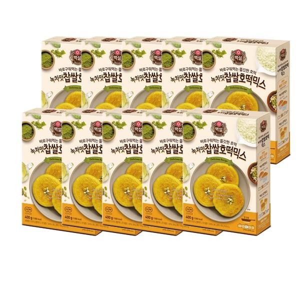 백설 녹차맛 찹쌀 호떡믹스 400g x 10개 (1box) 무배, 단품