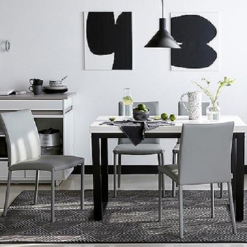 한샘 프레임 스틸 대리석4인 식탁세트 (의자포함), 식탁 색상:A형: 블랙 프레임+콤비그레이 상판 / 의자 색상:A형: 그레이