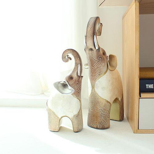제이콥 돈을 부르는 기분좋은 코끼리 2p세트(단색) 도자기 장식품