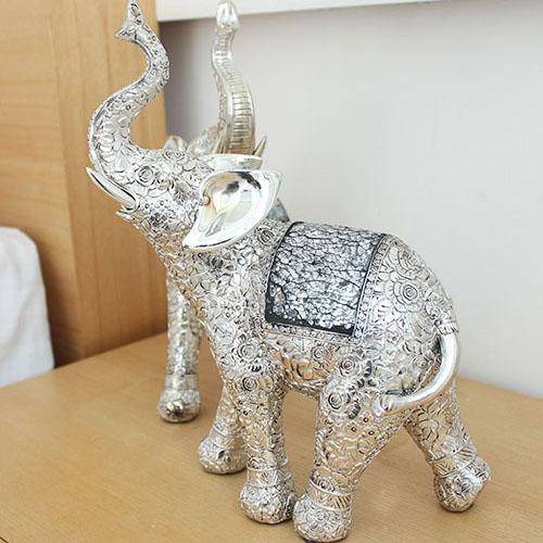 제이콥 재물을 부르는 실버 모자이크 코끼리 1p 큐빅 장식품