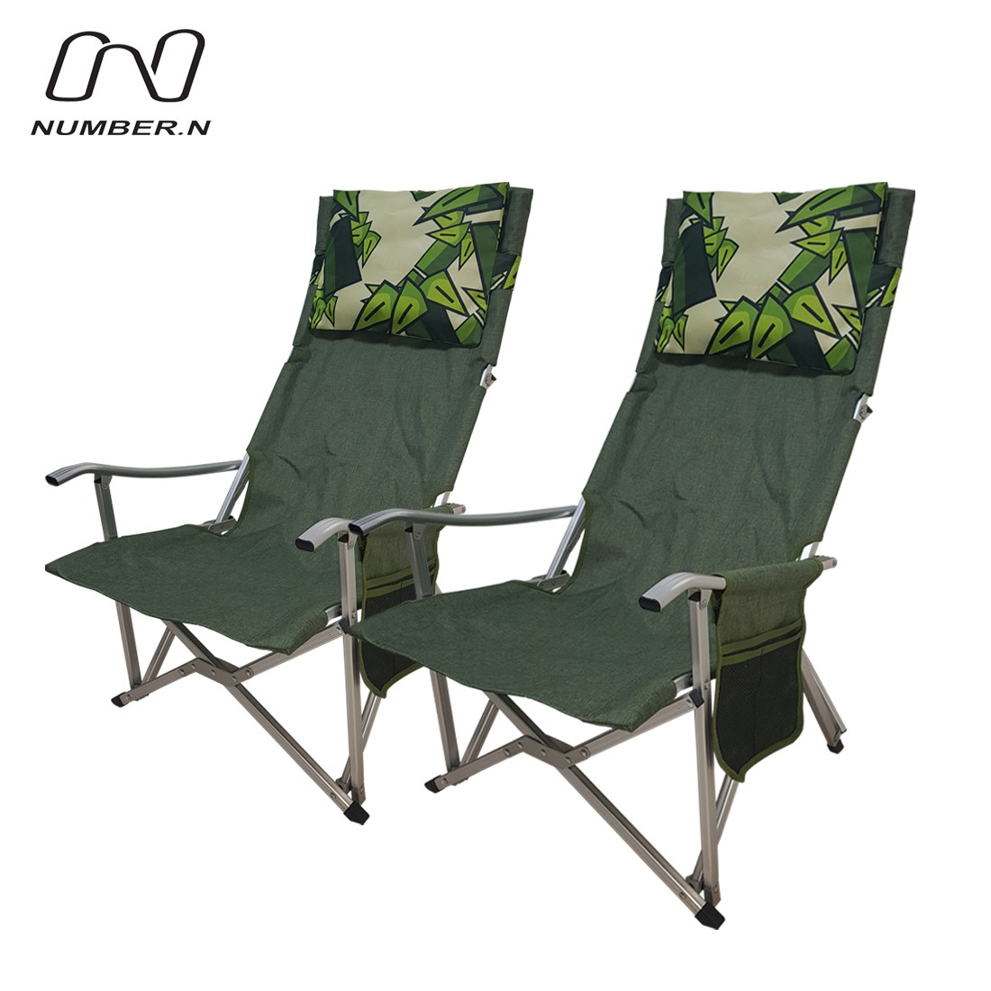 넘버엔 1+1 릴렉스 체어 프로 플러스 접이식 캠핑 의자, 그린+그린(N18)