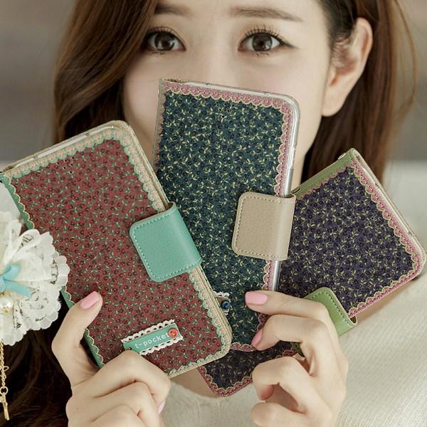 아나시스 예쁜 꽃무늬 레이스 빈티지 소녀감성 일러스트 수제 지갑형 핸드폰케이스