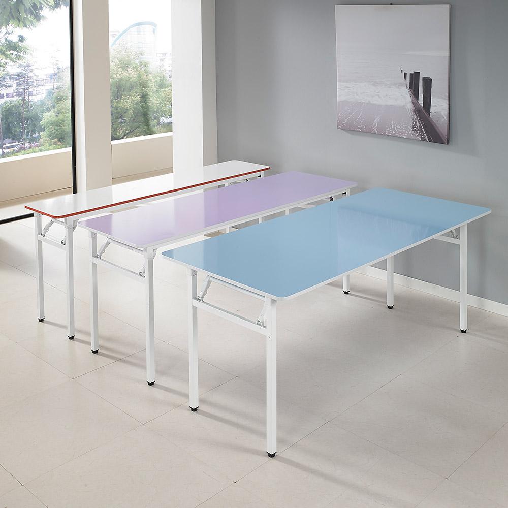 은혜가구 일자 접이식 테이블 1500x600 다용도 책상 공부 식탁, 스카이블루+화이트다리