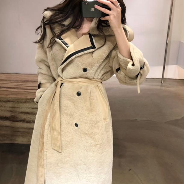 [퀸앤조이] 에코 양털자켓 무스탕 겨울 롱코트