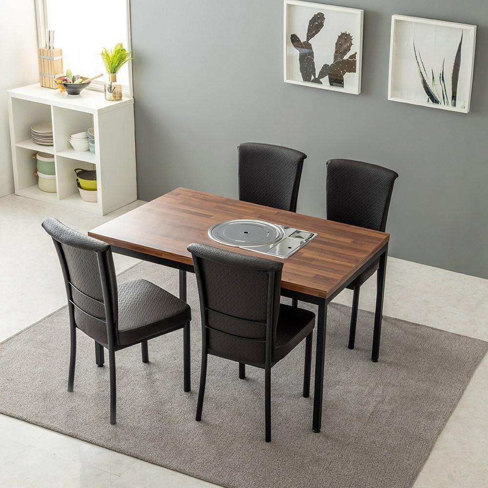 티디팩토리 불판식탁 4인용-의자별도 입식 주방식탁 불판테이블, 불판식탁-멀바우