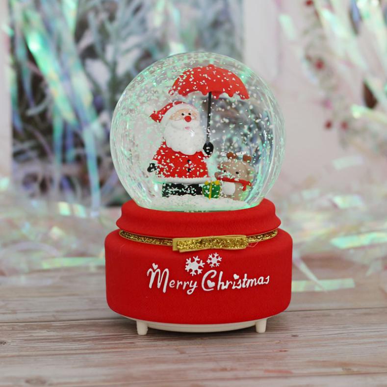 뭉게구름 산타 우산 자동눈날림 LED조명 크리스마스 오르골 스노우볼, 빨간선물