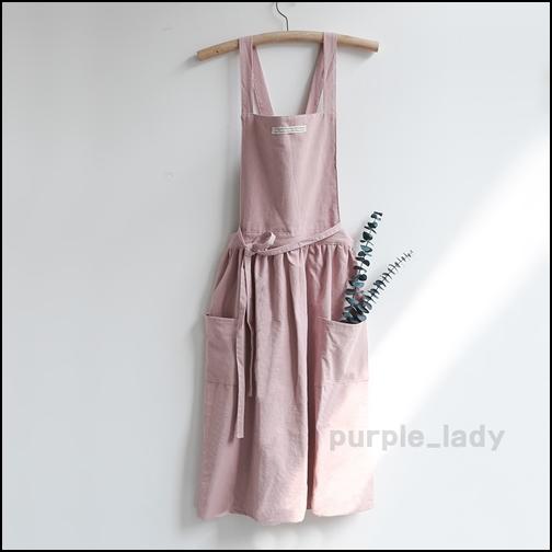 퍼플레이디 예쁜 무지 원피스 앞치마 4color, 핑크, 1개