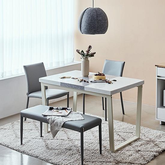 한샘 프레임 스틸 대리석 4인 벤치 식탁세트 (의자2+벤치1포함 4종 택1), 식탁 색상:C형: 화이트 프레임+콤비그레이 상판 / 의자+벤치 색상:A형: 그레이(G)